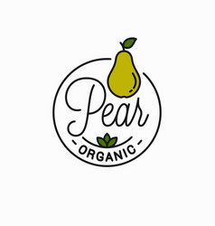 pear fruit logo round linear logo pear vector image