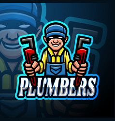 Plumbers esport logo mascot design vector