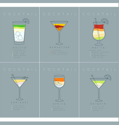 Poster cocktails mojito grayish blue vector