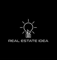 real estate skyscraper and lamp idea logo design vector image