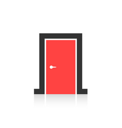 Red closed door icon isolated on white background vector