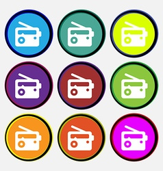 Retro Radio icon sign Nine multi-colored round vector