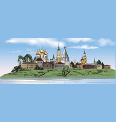Russian kolomna city kremlin landscape travel vector