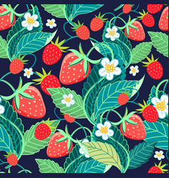 seamless bright pattern with strawberries and vector image