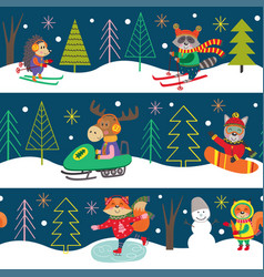 seamless pattern winter fun with animals vector image