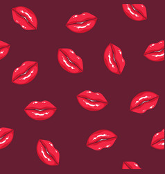 seamless pattern with plump women s lips on dark vector image