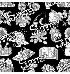 seamless pattern with summer objects on black vector image