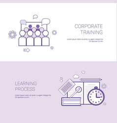 set corporate training and learning process vector image