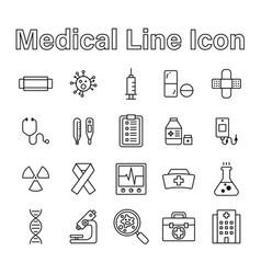 Set medical line icon editable stroke vector