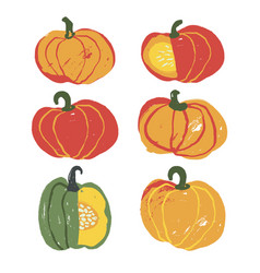 set of 6 cute handdrawn pumpkins vector image