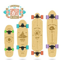Set of camp emblems on longboard vector image