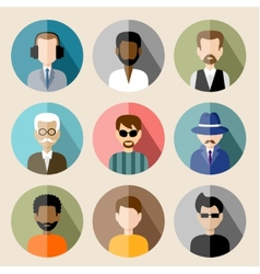 Set of circle flat icons with man vector image