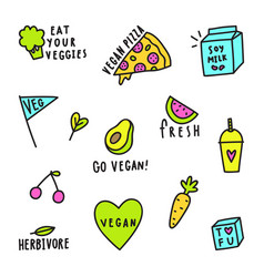 set of vegan signs vector image