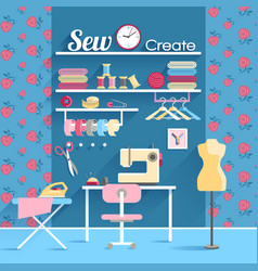 Sewing room concept design poster vector