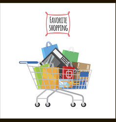 Shopping trolley with purchases favorite shopping vector