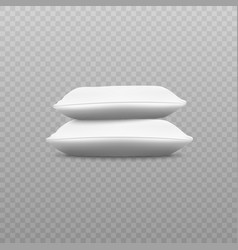 side view two white pillows stack realistic vector image