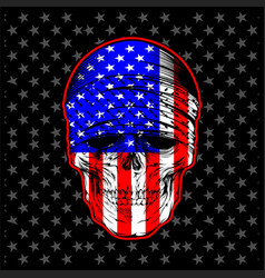 Skull bandana with usa flag vector