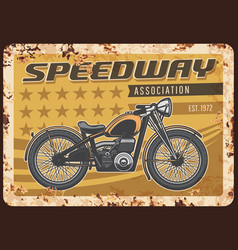 speedway association rusty plate with motorcycle vector image
