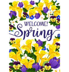 Spring season banner with flower blooming plant vector