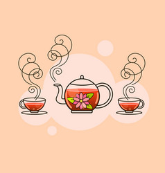tea fresh brewed tea-brew a kettle pour into a vector image