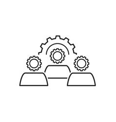 teamwork cogwheels icons vector image