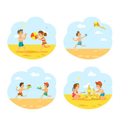 tropical vacations in summer children on beach vector image