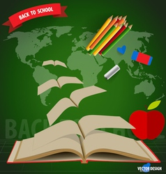 Welcome back to school Opened flying books vector