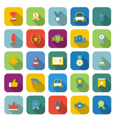 Winner color icons with long shadow vector
