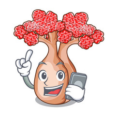 With phone bottle tree in rose shape cartoon vector