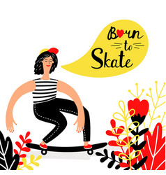 women skateboarding with flowers vector image