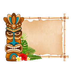 Wooden tiki mask and bamboo signboard vector