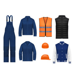 Workwear uniform and worker clothesg realistic vector