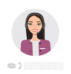 young asian lady with headset character vector image