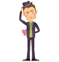 Young man with a bouquet of flowers vector