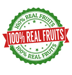 100 real fruits sign or stamp vector image vector image
