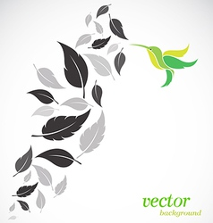 Abstract leaves and hummingbirds vector image