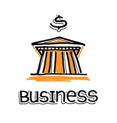 bank building and word business vector image
