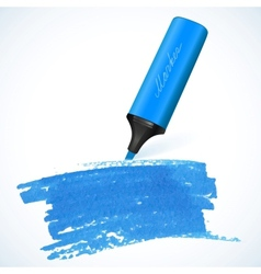 Blue marker with drawn spot vector image