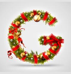 christmas font letter g of christmas tree vector image