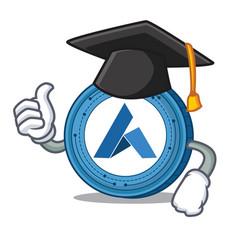 Graduation ardor coin character cartoon vector