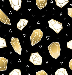 Seamless pattern with gold crystal rocks vector image