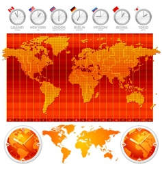 time zones and clocks vector image vector image