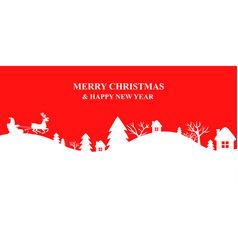 winters landscape with santa sleigh vector image vector image