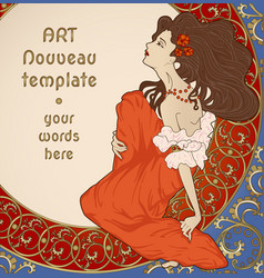 art nouveau card with lady sitting on floral rich vector image
