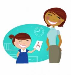 cartoon school girl vector image