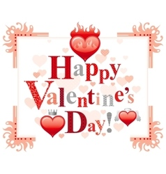 Happy Valentines day border romance love text vector image vector image