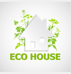 house and green plants vector image