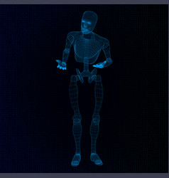Humanoid robot in a questioning pose vector