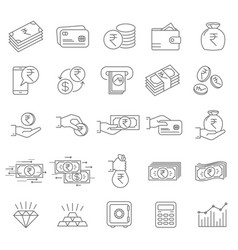 indian rupee financial icons vector image vector image