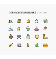 Line Icons Camping Equipment Open Air Tourism vector image vector image